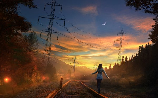 Women Artistic Railroad Dog Power Line Skirt Sky HD Wallpaper | Background Image