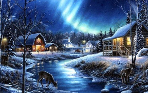 Artistic Painting Deer Building Barn Winter HD Wallpaper | Background Image