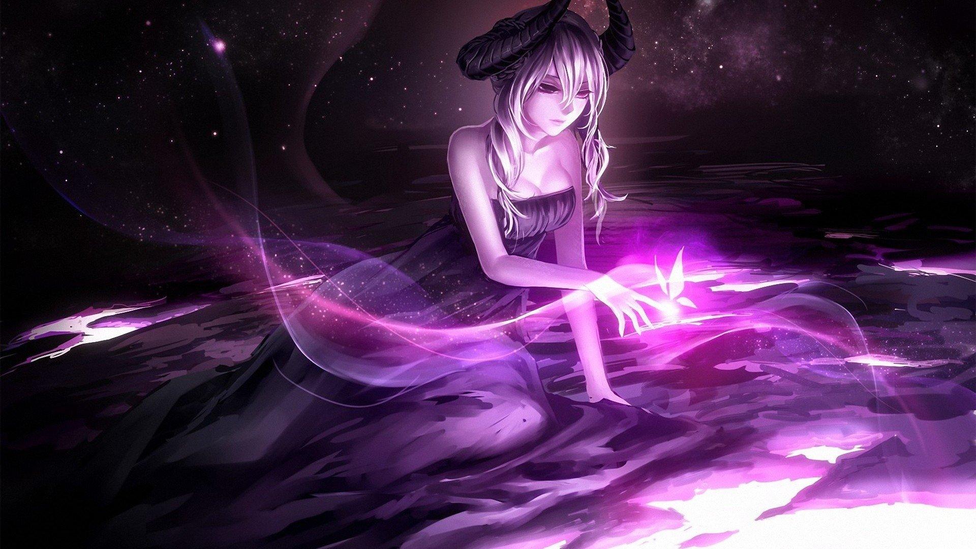 Fantasy - Women  Fantasy Woman Girl Demon Purple Horns Butterfly Wallpaper