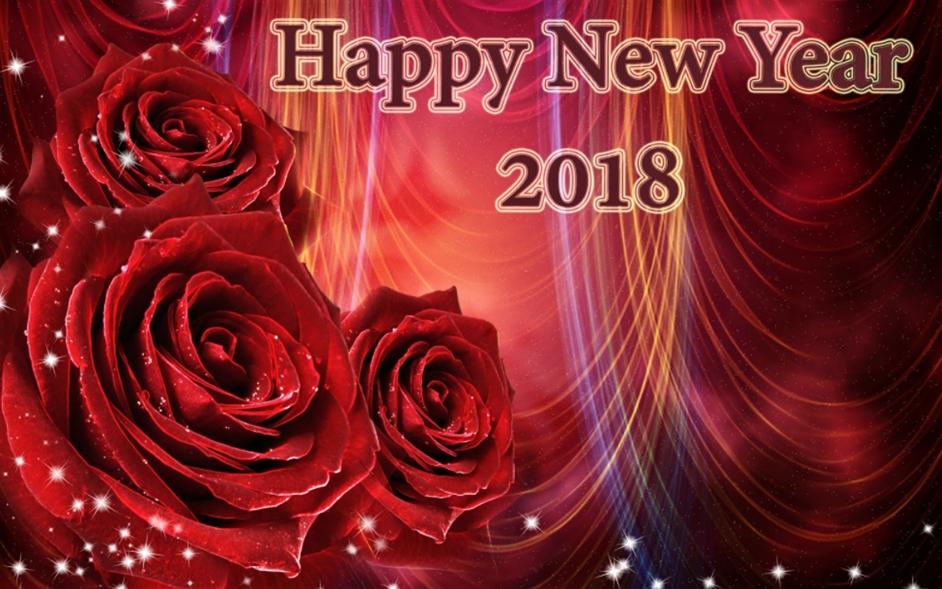 new year 2018 red rose wallpapers id880829