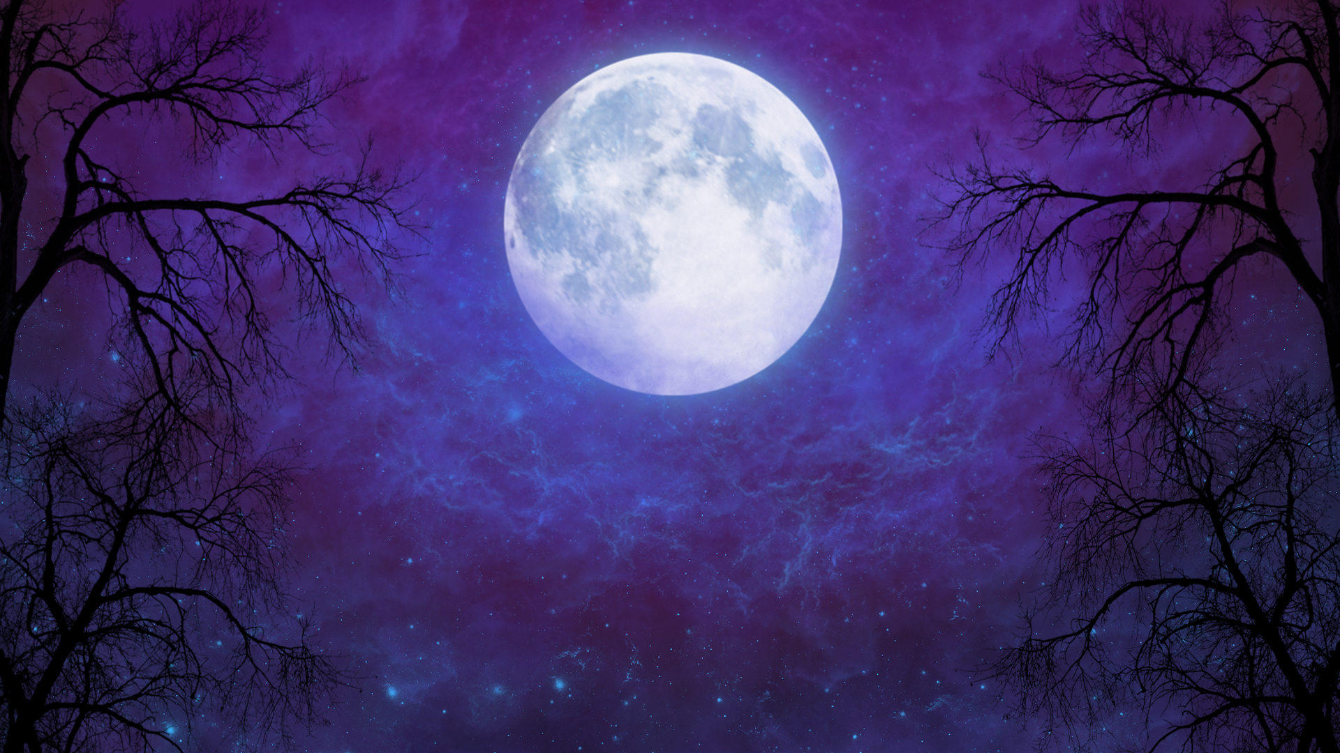 Full moon in starry night sky hd wallpaper background - Purple moon wallpaper ...