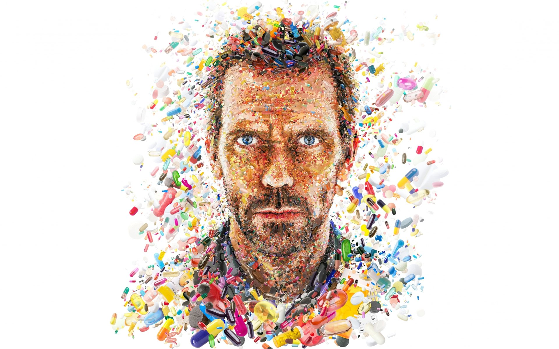 TV Show - House  House M.D. Gregory House Hugh Laurie Artistic Colors Pills Wallpaper