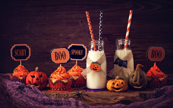Food Still Life Milk Cupcake Halloween Pumpkin HD Wallpaper | Background Image