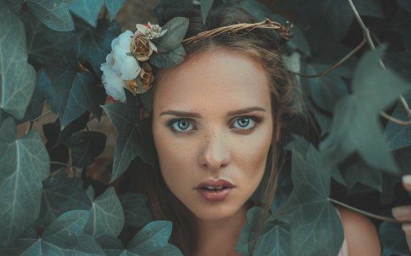 Women Face Woman Model Girl Brunette Blue Eyes Ivy Wreath Leaf HD Wallpaper | Background Image