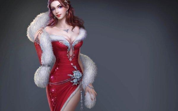 Fantasy Women Red Dress Fur HD Wallpaper | Background Image