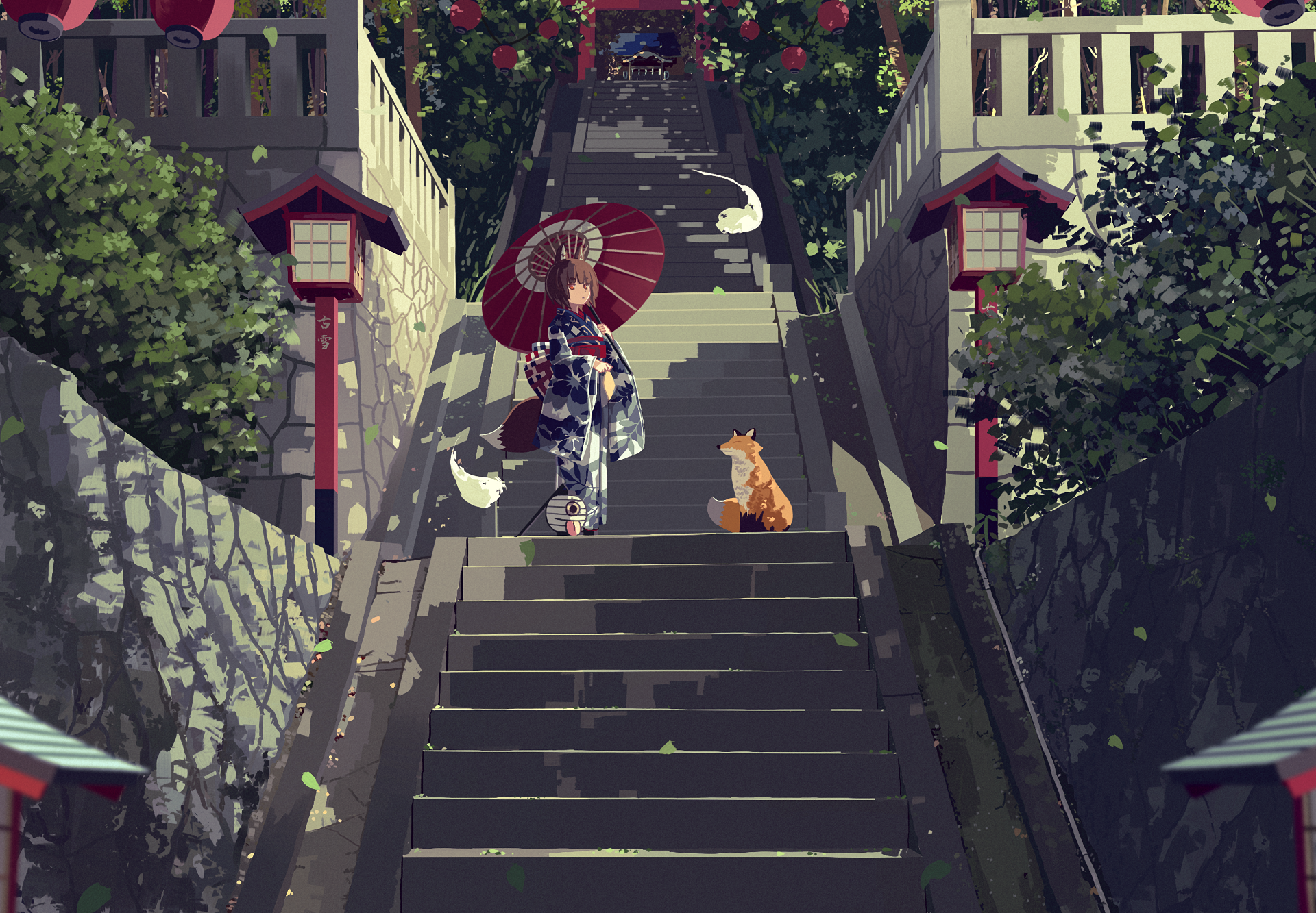 Anime - Original  Oriental Brown Hair Stairs Umbrella Spirit Orange Eyes Torii Short Hair Girl Kimono Animal Ears Fox Animal Wallpaper