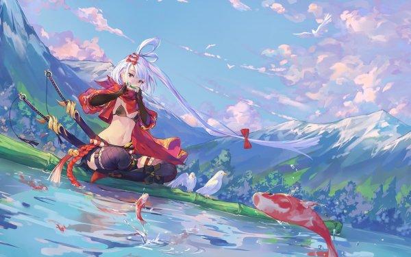 Anime Girl Nature Mountain Sword Fish Pond Long Hair Sky Cloud HD Wallpaper | Background Image