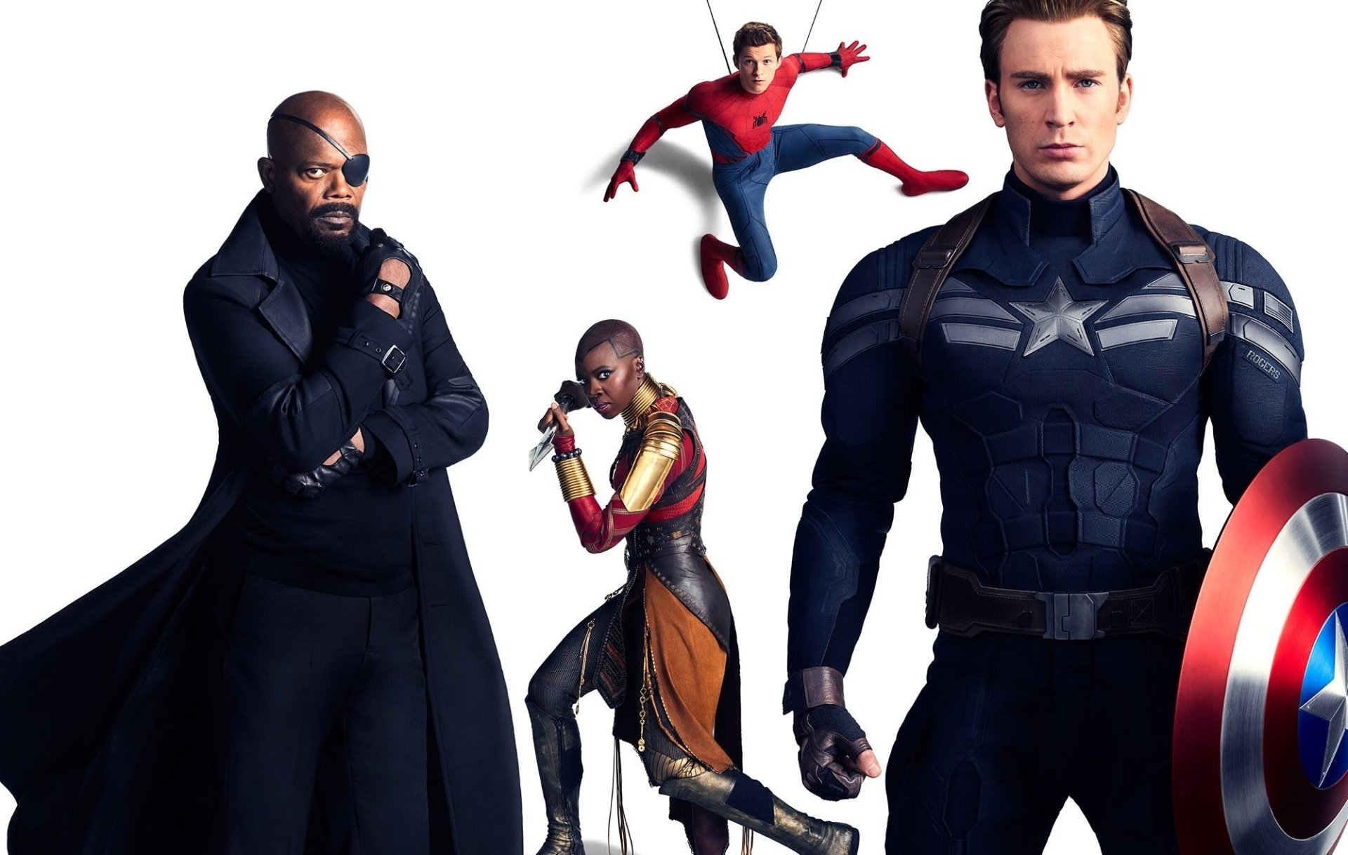 电影 - 复仇者联盟3:无限战争  美国队长 Chris Evans 蜘蛛侠 Tom Holland Danai Gurira Okoye (Marvel Comics) Nick Fury Samuel L. Jackson 壁纸