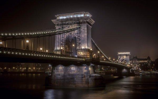 Man Made Chain Bridge Bridges Budapest Hungary Night HD Wallpaper   Background Image
