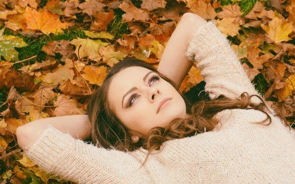 Women Mood Woman Model Girl Lying Down Fall Leaf Brunette HD Wallpaper   Background Image