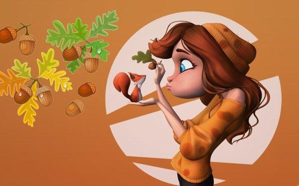 Women Artistic Squirrel Blue Eyes Hazelnut HD Wallpaper | Background Image