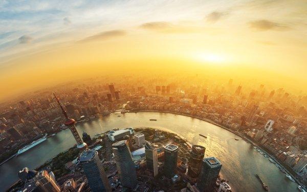 Photography Fisheye Shanghai City China Building River Tower Skyscraper Cruise Ship Sunset HD Wallpaper | Background Image