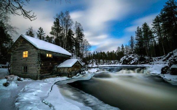 Fotografía Invierno Snow Casa Rio Bosque Cabaña Fondo de pantalla HD | Fondo de Escritorio