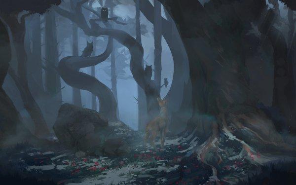 Fantaisie Cerf Animaux Fantastique Nuit Hibou Brouillard Forêt Fond d'écran HD   Arrière-Plan