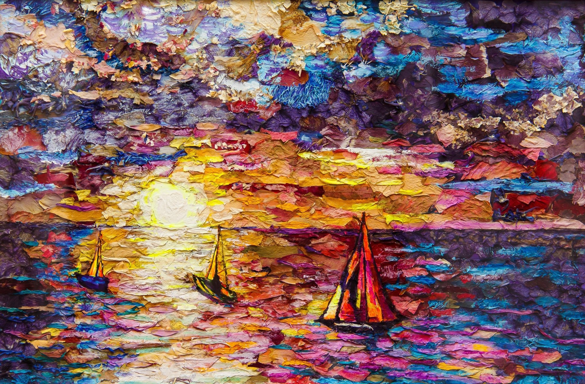 Artistic - Painting  Ocean Sky Boat Colors Colorful Wallpaper