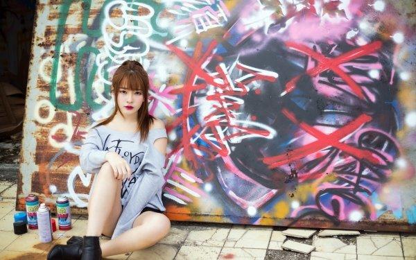 Women Asian Model Graffiti Lipstick Brunette HD Wallpaper   Background Image