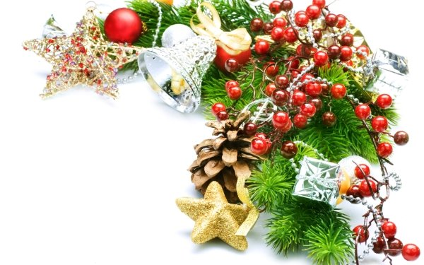 Holiday Christmas Decoration Stars Bell Pine Cone HD Wallpaper   Background Image