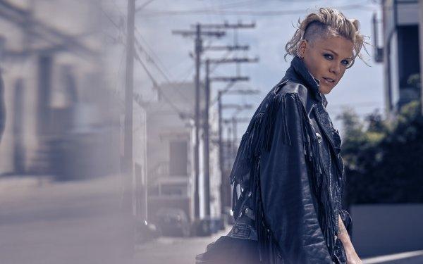 Music Pink Singers United States Singer Blonde Short Hair Depth Of Field Leather Jacket HD Wallpaper | Background Image