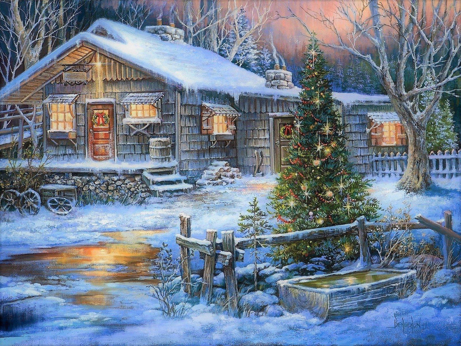 Country Christmas Background Wallpaper.A Country Christmas Wallpaper And Background Image