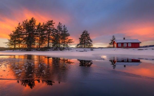 Fotografía Invierno Lago Hielo Árbol Snow Casa Atardecer Fondo de pantalla HD   Fondo de Escritorio