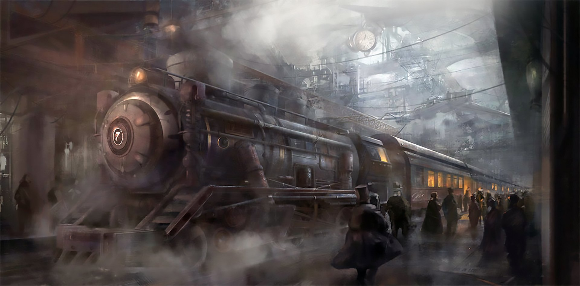 Sci Fi - Steampunk  Train Station Train Wallpaper
