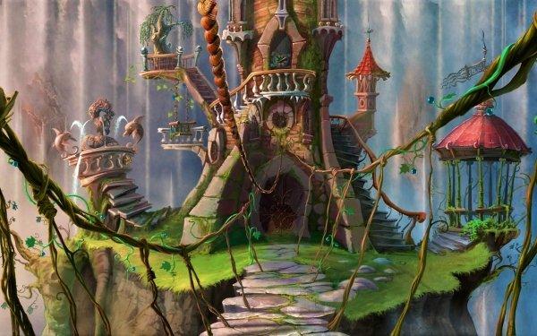 Fantasy Castle Castles Artistic Fountain Tree HD Wallpaper | Background Image