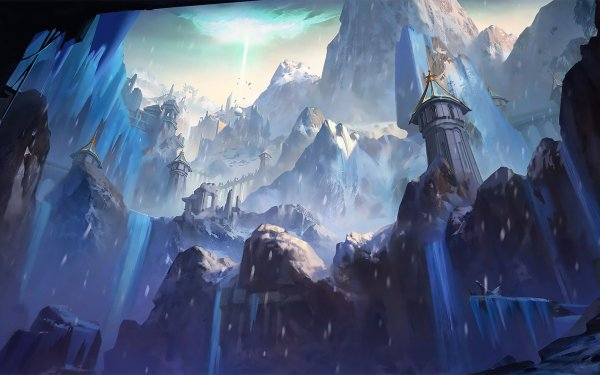 Fantasy Landscape Frost Snow Mountain Building HD Wallpaper | Background Image
