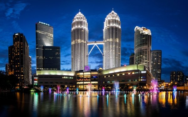 Man Made Kuala Lumpur Cities Malaysia Skyscraper Night Petronas Towers HD Wallpaper | Background Image
