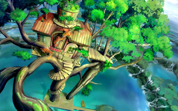 Anime Original Lake Tree Treehouse HD Wallpaper | Background Image