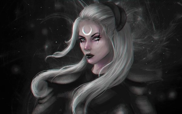 Video Game League Of Legends Fantasy White Hair Diana HD Wallpaper | Background Image