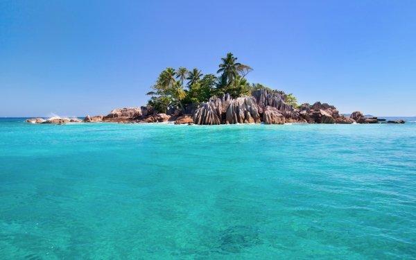 Tierra/Naturaleza Isla Seychelles Rock Palmera Océano Sea Tropico Turquesa Fondo de pantalla HD | Fondo de Escritorio