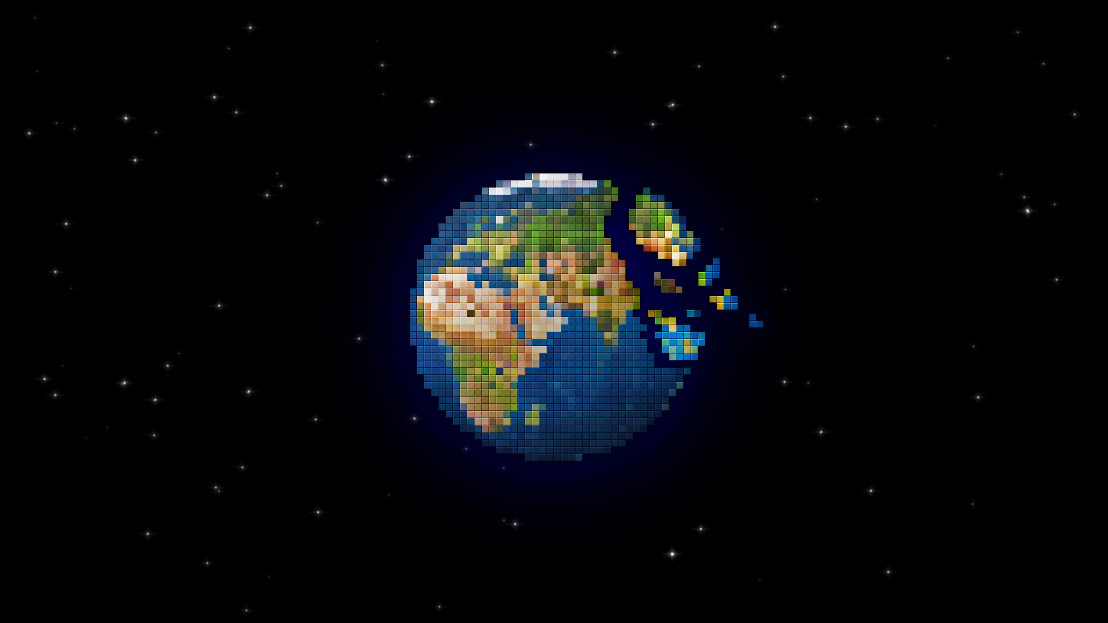 Pixel Earth 4k Ultra Hd Wallpaper Sfondi 3840x2160 Id900628