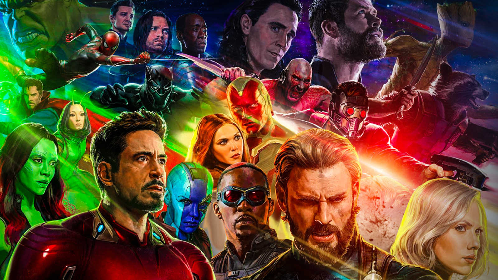 Filmy - Avengers: Infinity War  Avengers Strażnicy Galaktyki Groot Vin Diesel Thor Chris Hemsworth Loki Tom Hiddleston Rocket Raccoon Bradley Cooper Star Lord Peter Quill Chris Pratt Drax The Destroyer Dave Bautista Vision (Marvel Comics) Paul Bettany Kapitan Ameryka Steve Rogers Chris Evans Scarlet Witch Wanda Maximoff Elizabeth Olsen Scarlett Johansson Black Widow Natasha Romanoff Falcon (Marvel Comics) Anthony Mackie Sam Wilson Thanos Josh Brolin Hulk Bruce Banner Mark Ruffalo Spider-Man Peter Parker Tom Holland Iron Spider Winter Soldier Bucky Barnes Sebastian Stan Hawkeye Jeremy Renner Clint Barton War Machine Don Cheadle James Rhodes Black Panther (Marvel Comics) T'Challa Chadwick Boseman Doktor Strange Benedict Cumberbatch Stephen Strange Zoe Saldana Gamora Mantis (Marvel Comics) Pom Klementieff Nebula (Marvel Comics) Karen Gillan Tony Stark Iron Man Robert Downey Jr. Tapeta