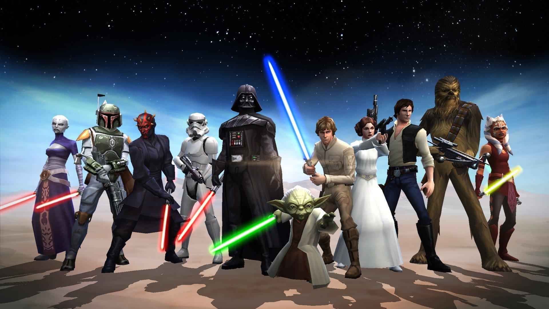 Video Game - Star Wars: Galaxy of Heroes  Star Wars Boba Fett Darth Maul Stormtrooper Darth Vader Yoda Luke Skywalker Han Solo Princess Leia Chewbacca Ahsoka Tano Asajj Ventress Wallpaper