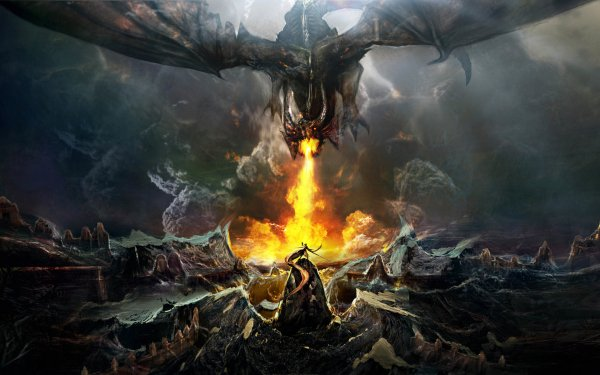 Fantasy Dragon Fire Warrior HD Wallpaper   Background Image
