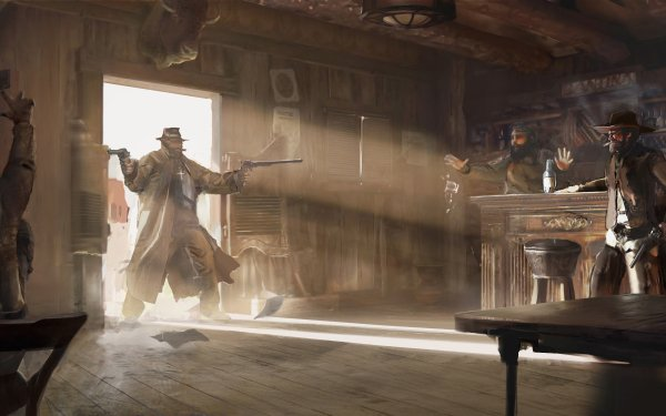 Fantasy Warrior Cowboy Far West Saloon Gun HD Wallpaper | Background Image