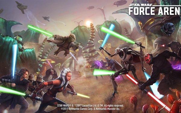 Video Game Star Wars: Force Arena Yoda General Grievous Darth Maul Ahsoka Tano Anakin Skywalker Blue Lightsaber Red Lightsaber Green Lightsaber Purple Lightsaber Yellow Lightsaber HD Wallpaper | Background Image