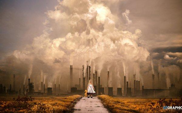 Fantaisie Enfant Little Girl Peluche Usine Industrial Fumée Fond d'écran HD | Image