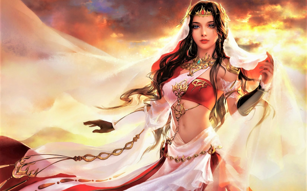 Fantasy Women Girl Woman Crown Heterochromia HD Wallpaper | Background Image