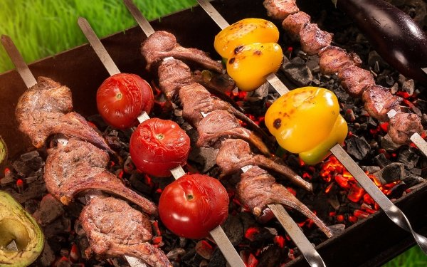 Food Barbecue Meat Tomato Pepper HD Wallpaper | Background Image