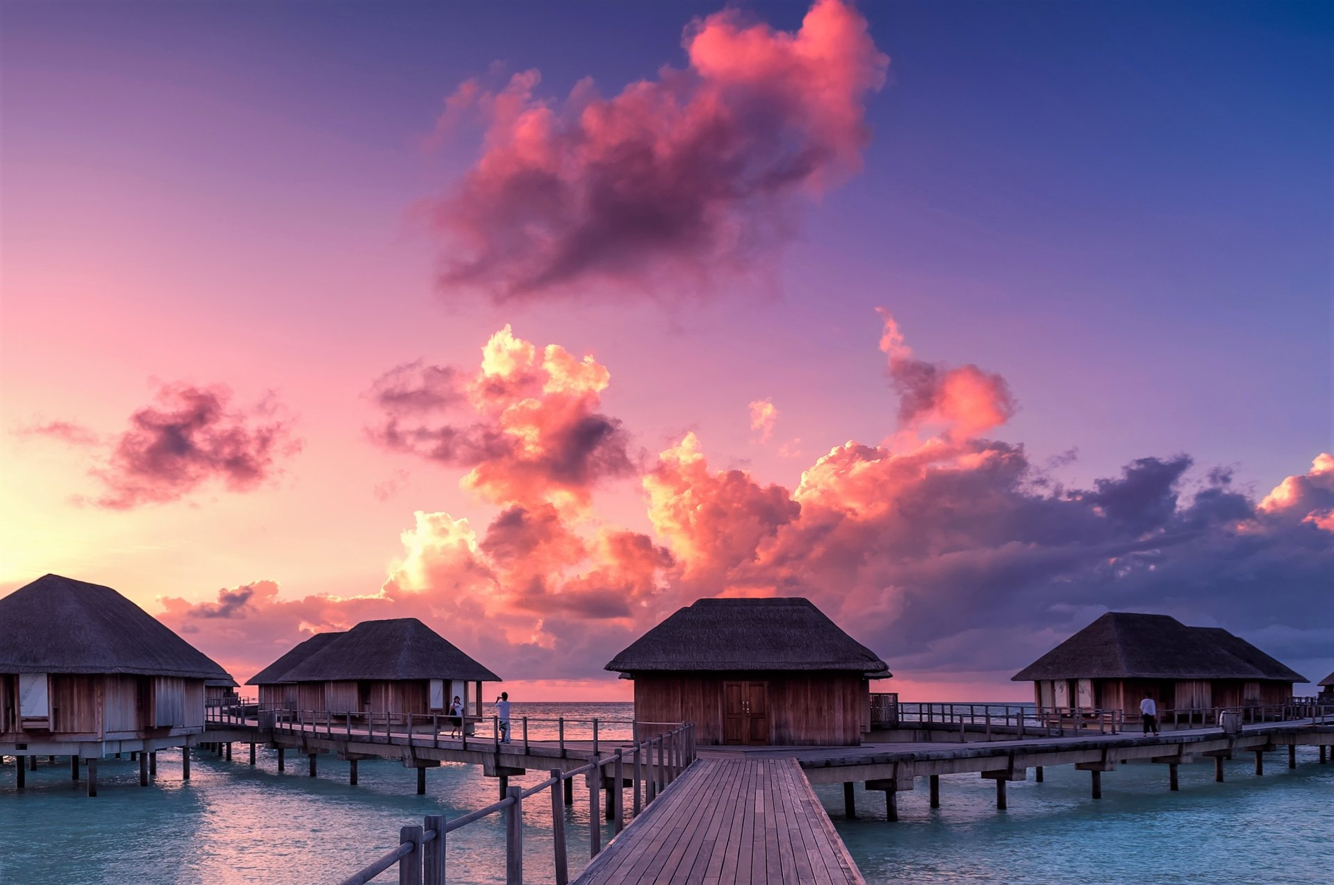 Man Made - Resort  Maldives Havet Sea Hut Bungalow Bakgrund