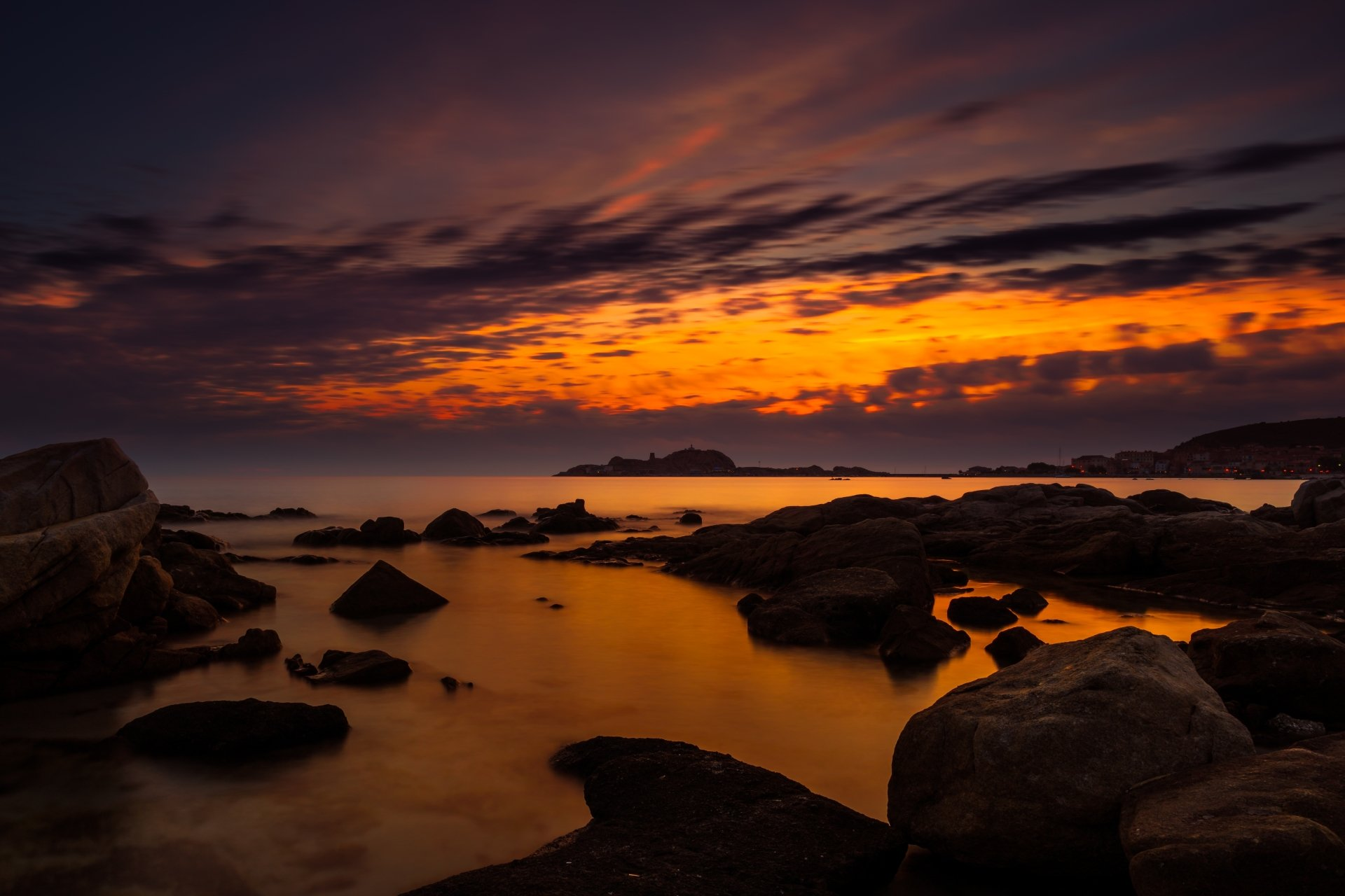 Photography - Sunset  Corsica Ocean Rock Wallpaper