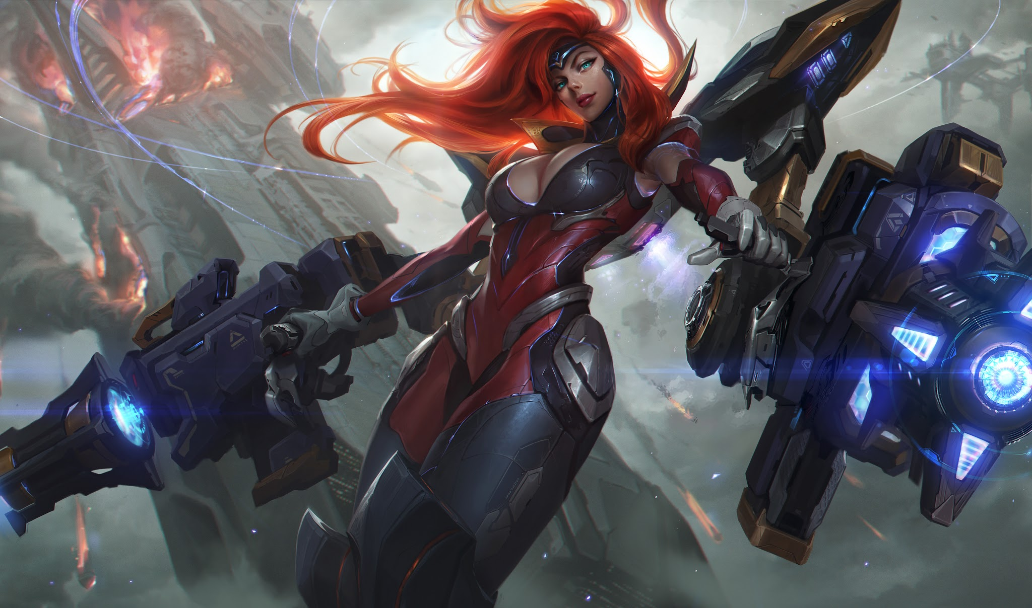 Gun Goddess Miss Fortune Hd Wallpaper Background Image