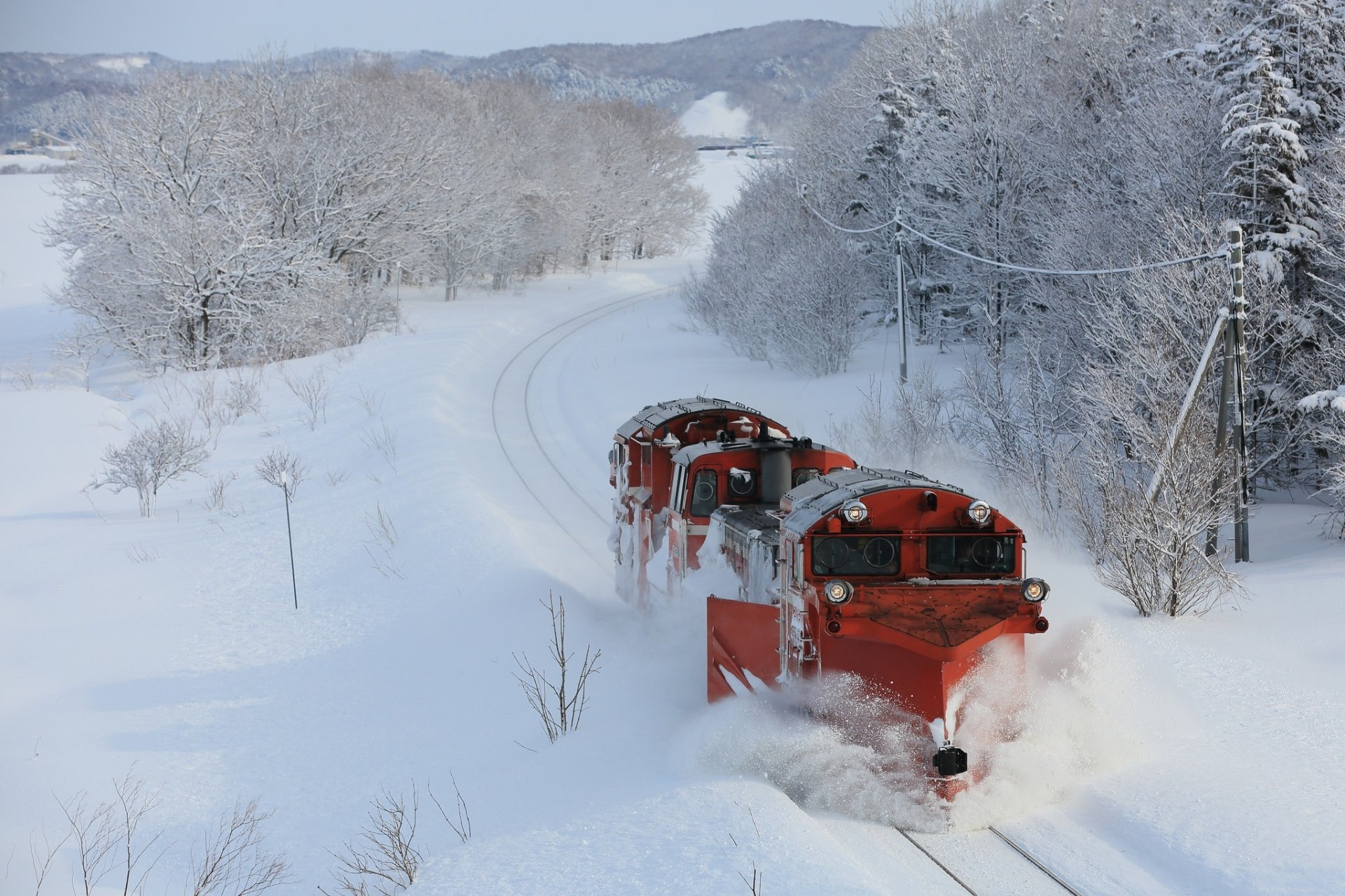 Vehicles - Train  Locomotive Winter Snow Wallpaper