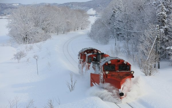 Vehicles Train Locomotive Winter Snow HD Wallpaper | Background Image