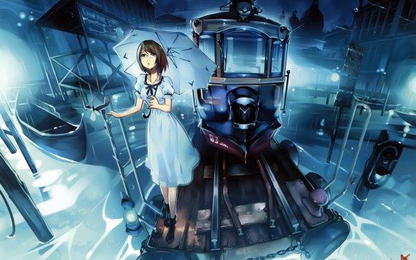 Anime Original Short Hair Glasses Tram Boat Umbrella Black Hair HD Wallpaper | Background Image