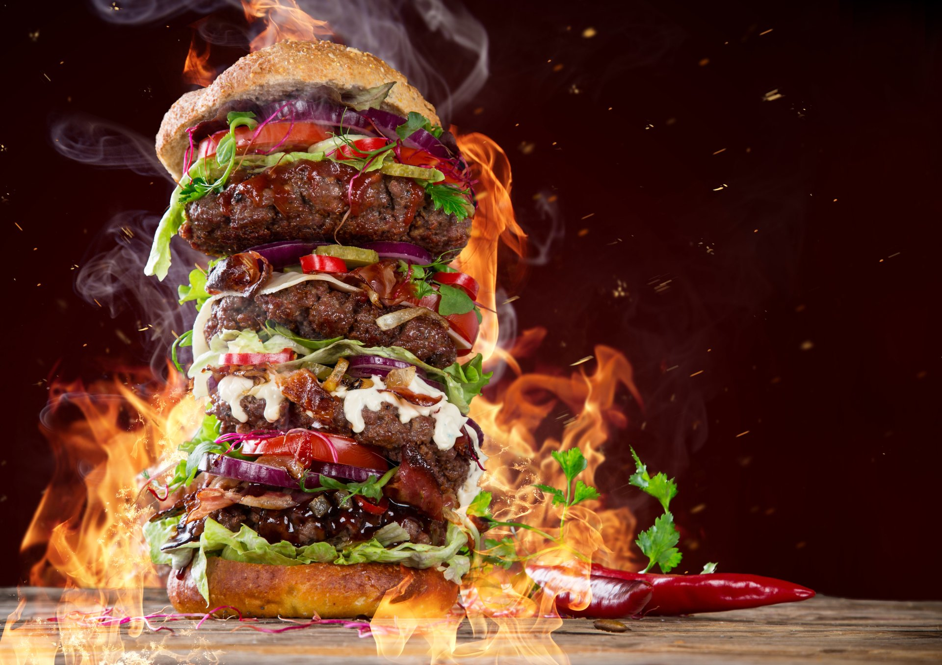 Food - Burger  Flame Wallpaper