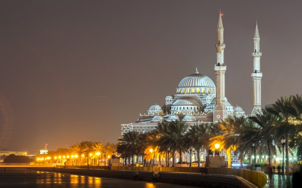 Religious Mosque Mosques Al Noor Mosque Sharjah Night United Arab Emirates Building Architecture HD Wallpaper | Background Image