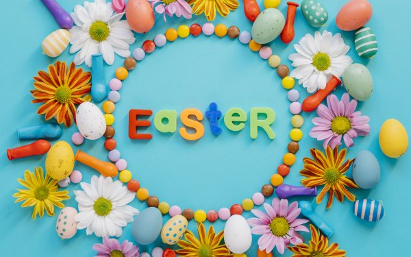 Holiday Easter Colors Easter Egg Flower Candy Still Life HD Wallpaper   Background Image
