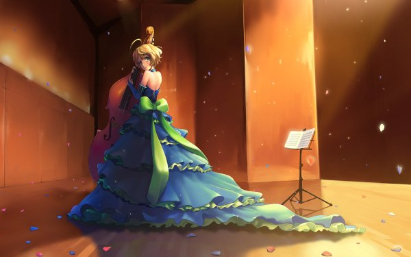 Anime Sound! Euphonium Green Eyes Blonde Short Hair Instrument Dress Sapphire Kawashima HD Wallpaper | Background Image